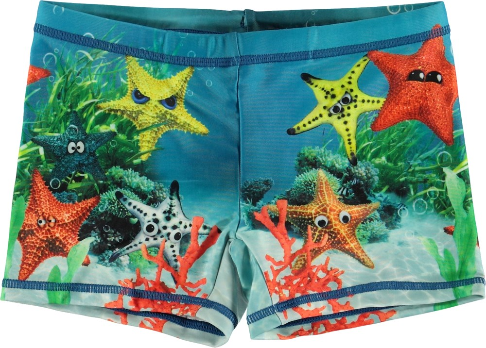 Norton Placed - Moody Stars - UV swim trunks with starfish