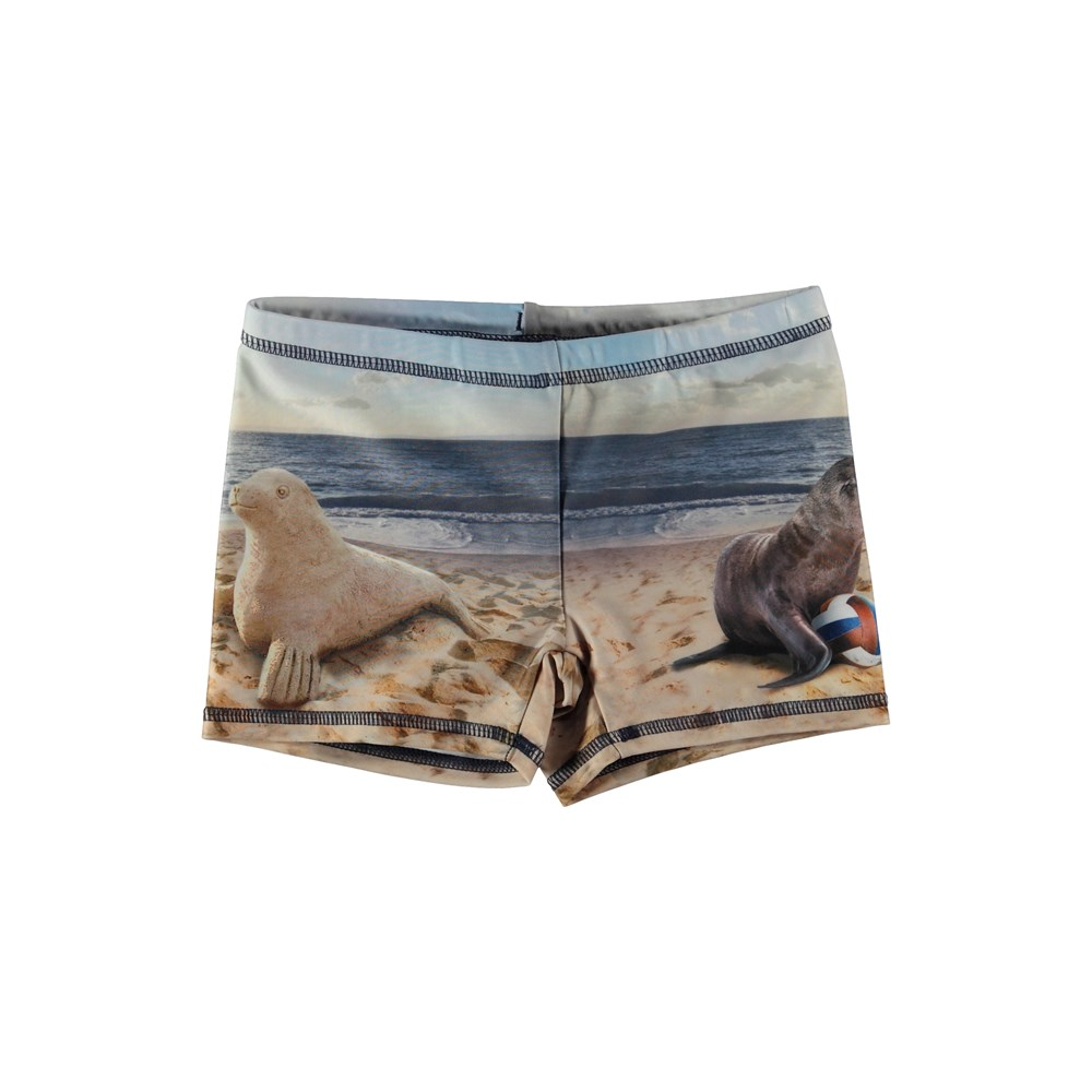 Norton Placed - Play With Me - Swim trunks with seal print.