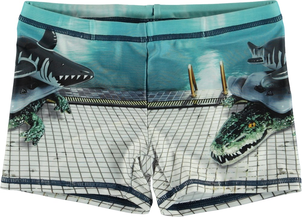 Norton Placed - Pool Side - UV swim trunks with float animals