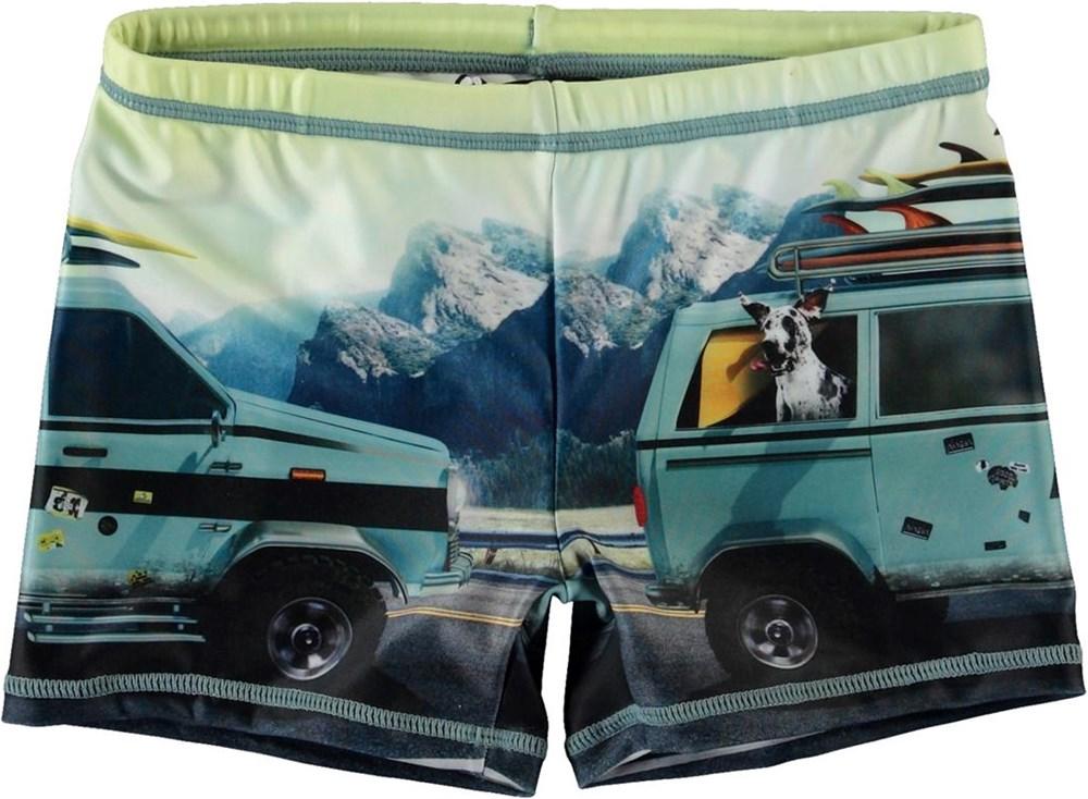 Norton Placed - Road Trip - Short UV swim trunks with car