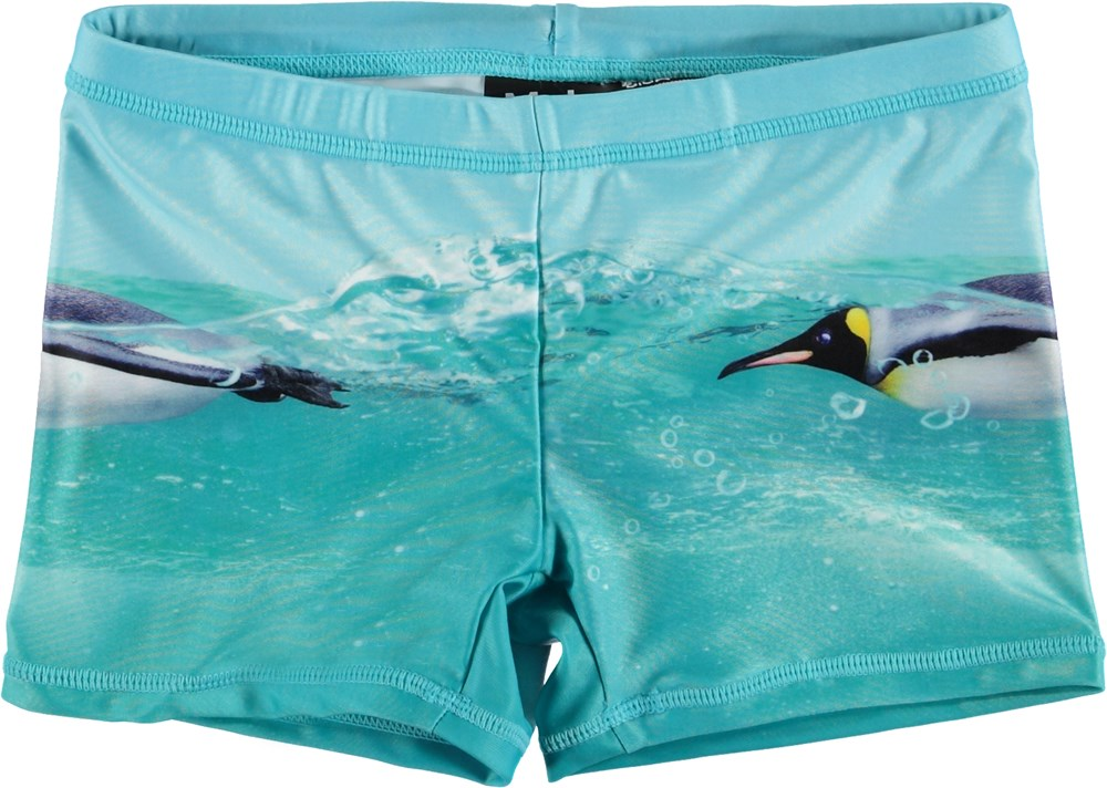 Norton Placed - The Penguin - UV swim trunks with penguins
