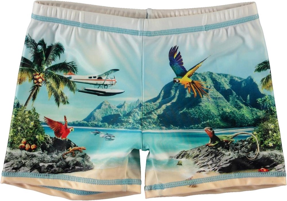 Norton Placed - Welcome To Hawaii - Short UV swim trunks with beach