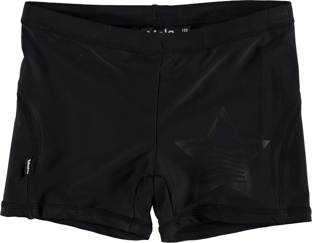 Norton Solid - Very Black - Short, black UV swim trunks