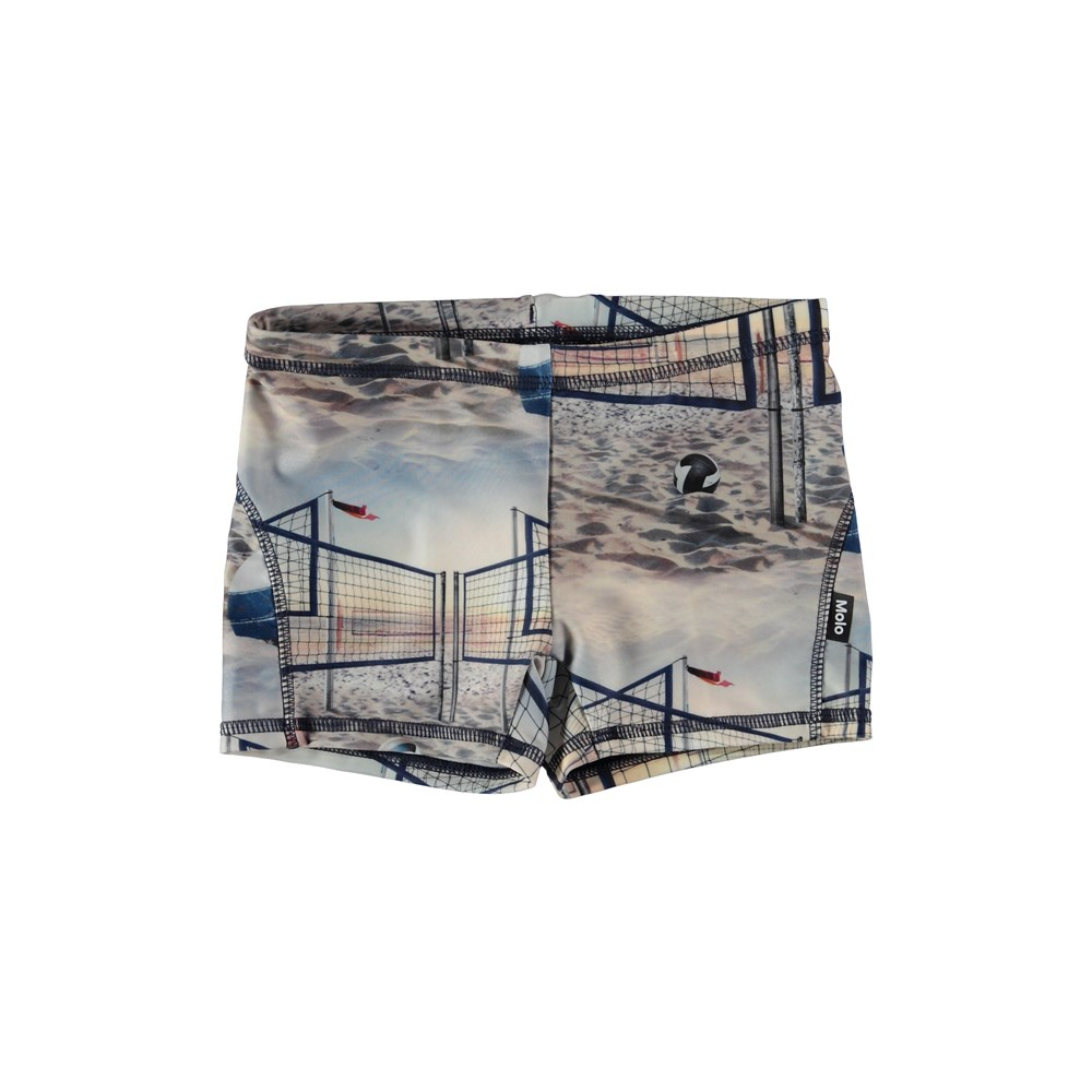 Norton - Volleyball Sunset - Swim trunks with a beach print.