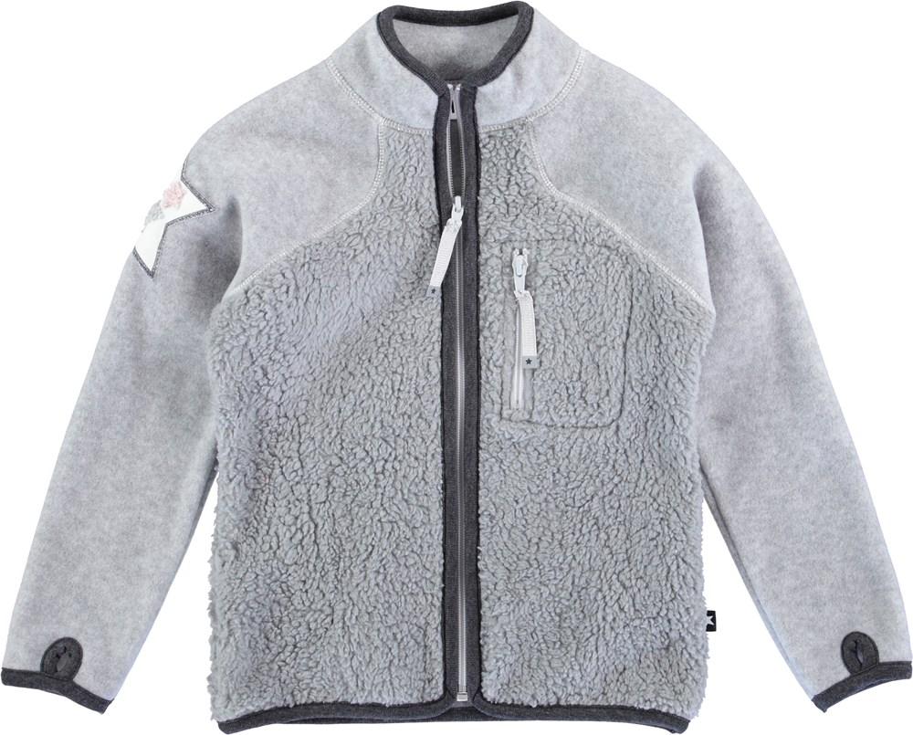 Uma - Grey Melange - Grå fleecejacka