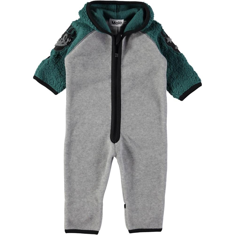 Uny - Jungle Green - Baby heldräkt i grå och grön fleece