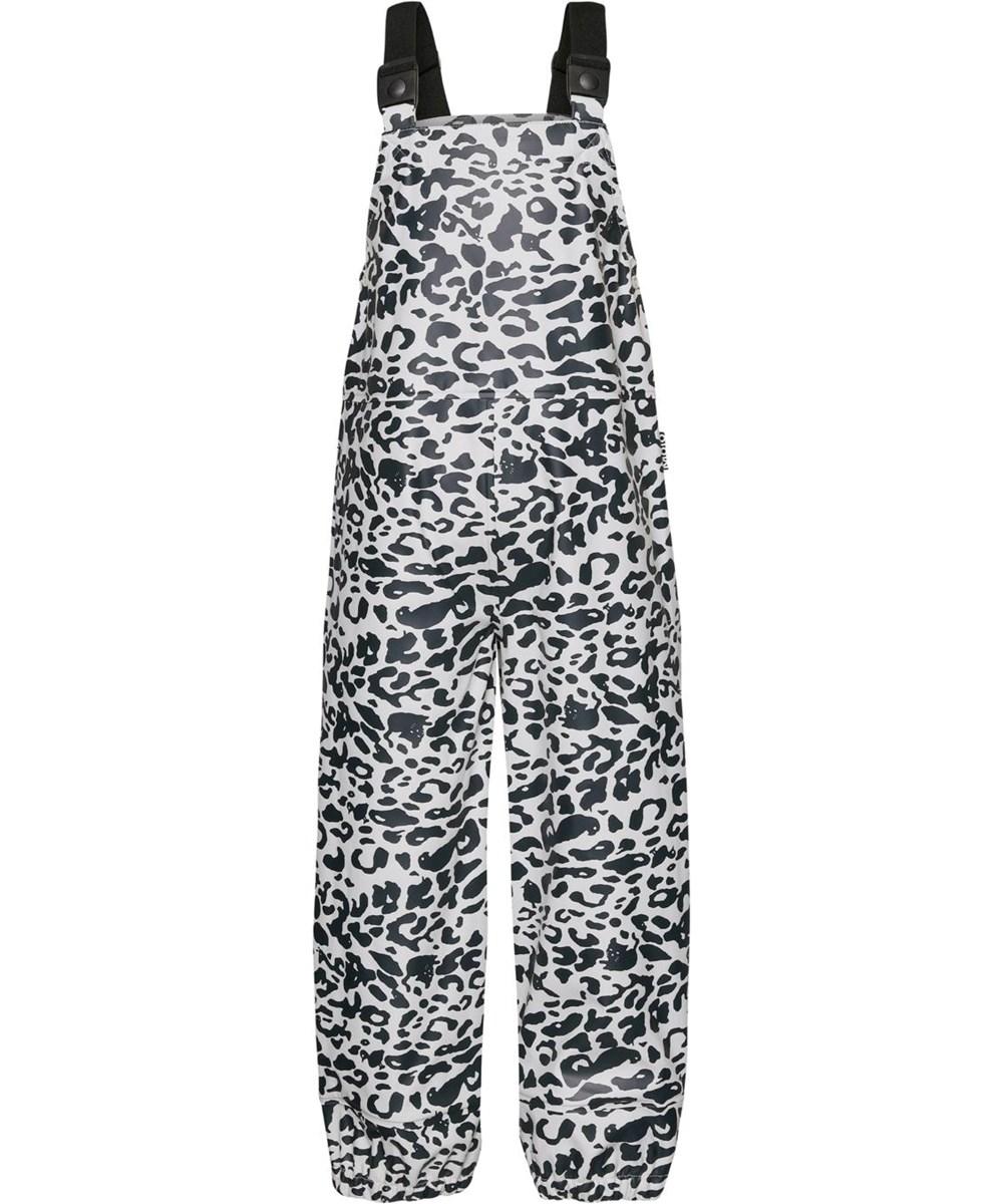 Zareb - Leo Blue - Återvunna regnbyxor i leopard med hängslen
